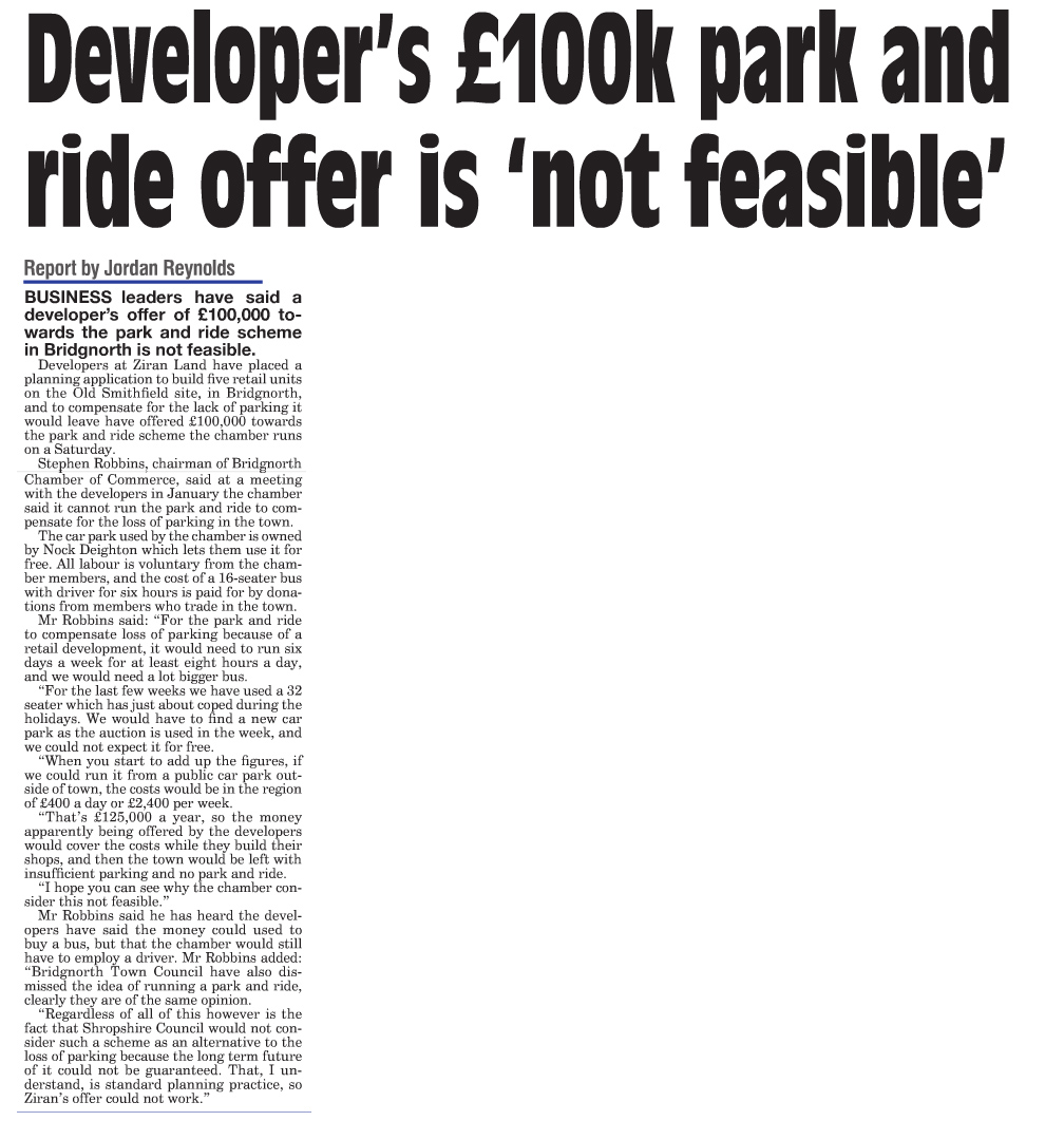 Park and Ride not feasible 25-8-16